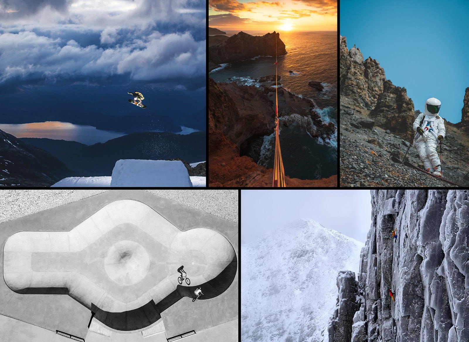 Disse fem actionbildene er finalister i Instagram-kategorien. Foto: © Dasha Nosova, Jeremy Bernard, Fabien Maierhofer, Baptiste Fauchille, Hamish Frost / Red Bull Illume