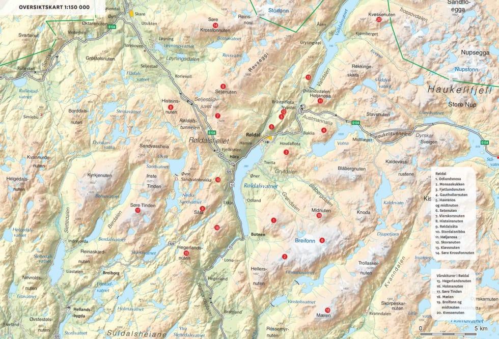 Oversiktskart over Røldal. Fra Toppturer i Sørvest.