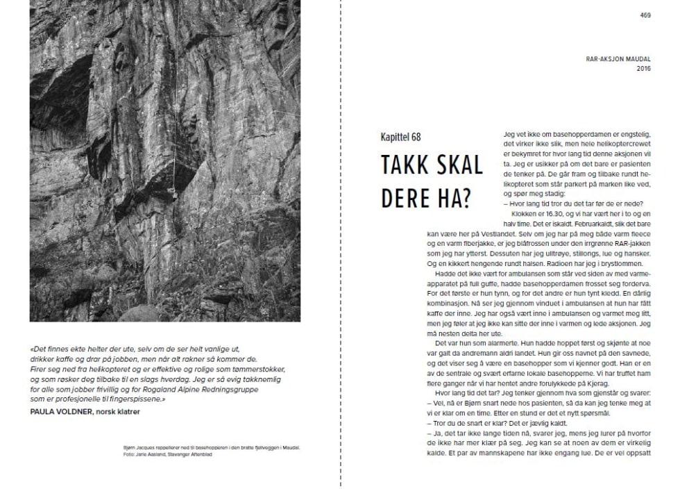 """Oppslag fra boken """"På død og liv - Norsk Fjellredning fra innsiden"""