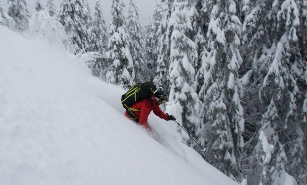 KJØRING: Erlend Sande finner noen fine svinger i en temmelig liten bakke med nydelig snø. Foto: Gunhild Aaslie Soldal