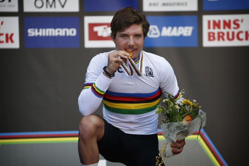 VERDENSMESTER: March Hirschi vant U23-fellesstarten i Innsbruck, og blir farlig også i Tour of Norway. Foto: Cor Vos.