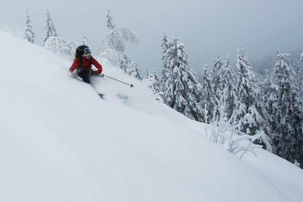 MÅLET: Fine svinger i deilig snø og helt ålreit terreng. Foto: Gunhild Aaslie Soldal