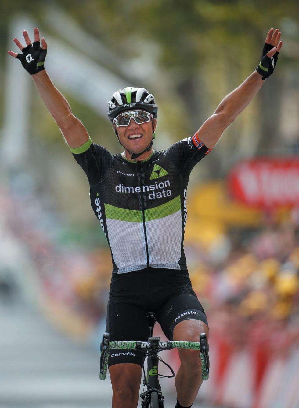Edvald kom alene til mål og vant 19.etappe i Tour de France 2017. Foto: Cor Vos