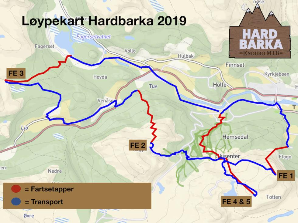 Kart over etappene i Hardbarka Enduro 2019. Illustrasjon: Arrangøren