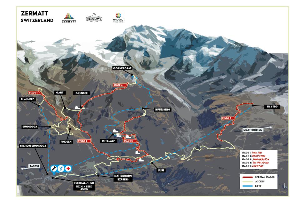 Etappekart for Enduro World Series siste runde, som går i Zermatt i Sveits i morgen. Illustrasjon: Enduro World Series