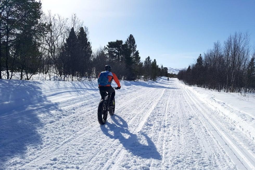 Skuterspor på ti meters bredde Hyttefelt Bollo i Alta kommune - Kombinert ski- og skuterløype Trond Olsen nærmest  Even Johansen og Lars Harald Blomkvist - Stig R Nilsen copy 1400x933