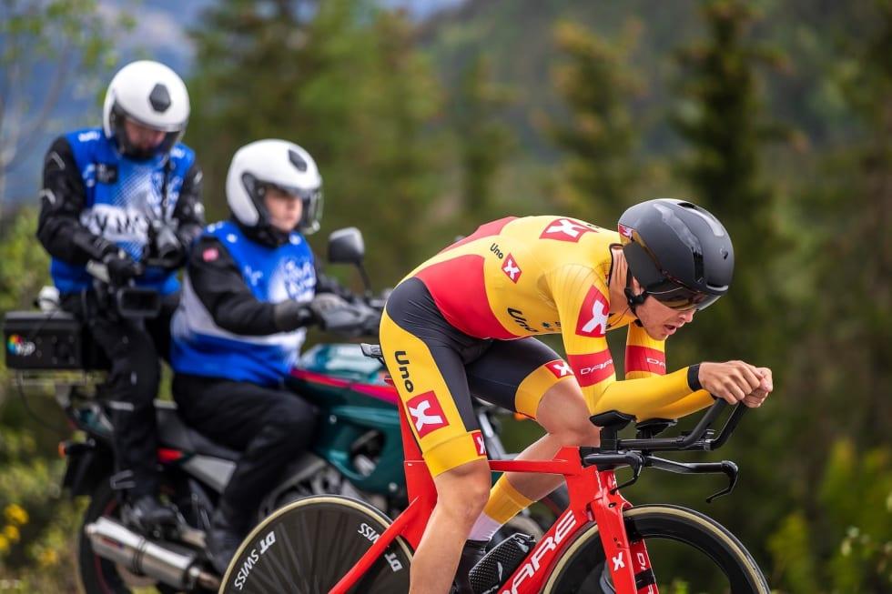 BESTE NORSKE: Tobias S. Foss kom på fjerdeplass i Hafjell-tempoen, som var første av tre ritt i Uno-X Development Weekend. Foto: Pål Westgaard