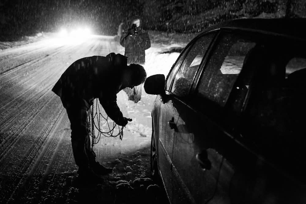 Kjettingene må på- Dolomittene snør ned.