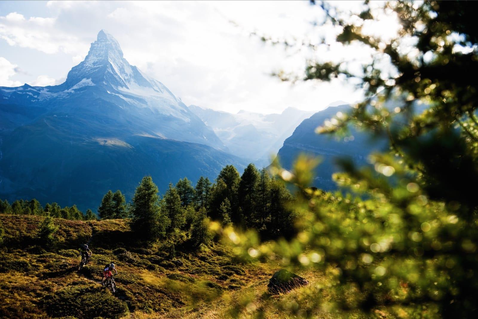 DELER PÅ GODENE: Stinettet rundt Zermatt er imponerende stort. Like imponerende er det at den klassiske fotturdestinasjonen er så velkomne overfor syklister også. Del stien-konseptet gjelder, og det fungerer bra. Her sykler Karen Eller og Holger Meyer ved Sunnegga.