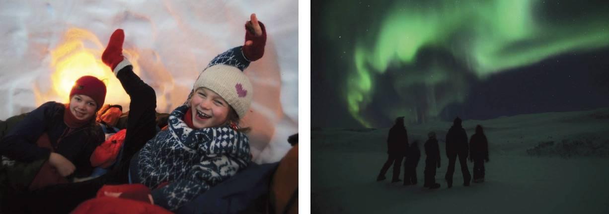 INNE: Hula er innflyttingsklar – og stemningen er god! UTE: Magisk når nordlyset danser over himmelen. Alle foto: Lars H. Krempig