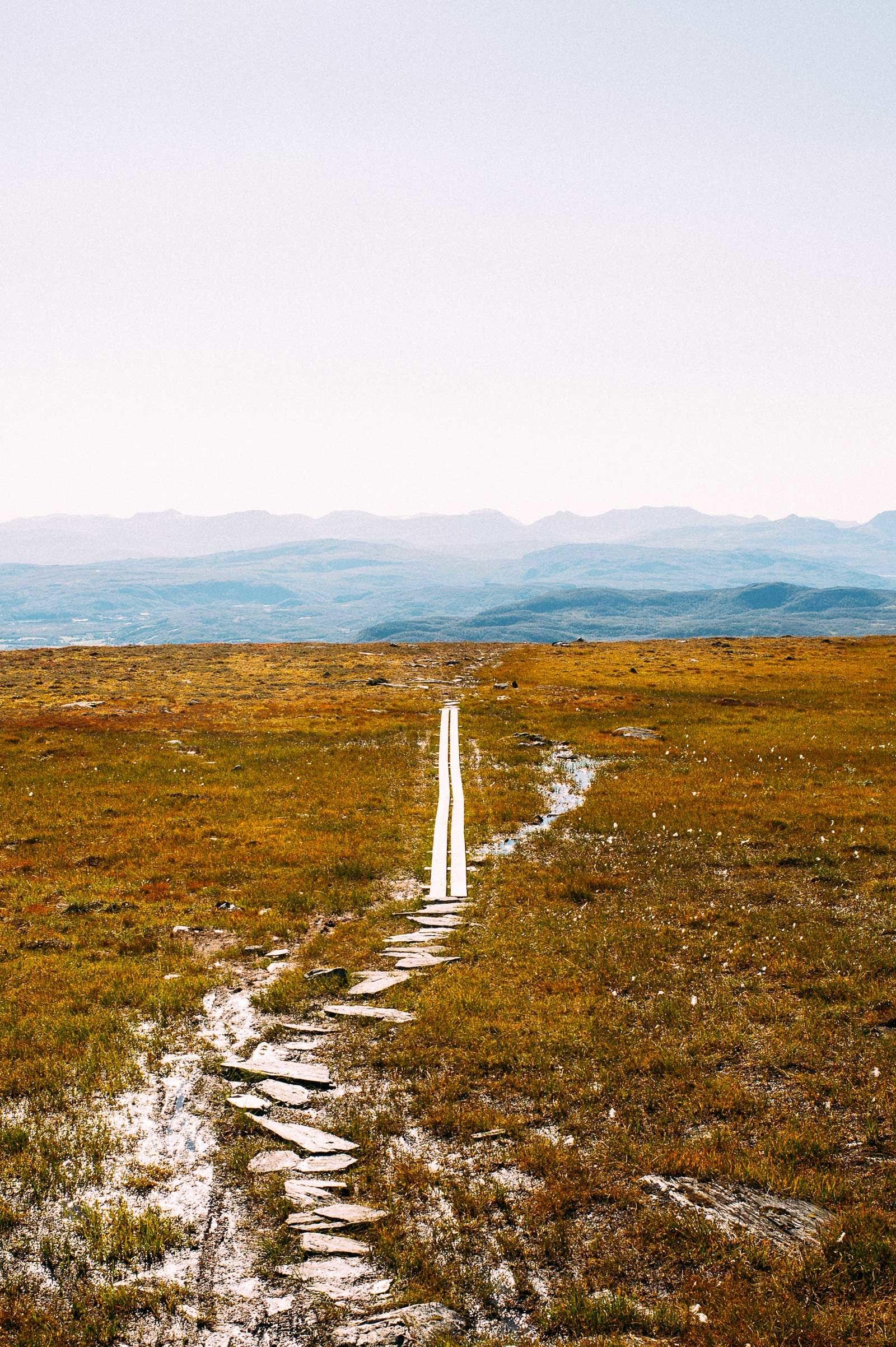 Tilrettelagt: Balsfjord og omegn Turlag har lagt klopper i de få våte partiene mot toppen.