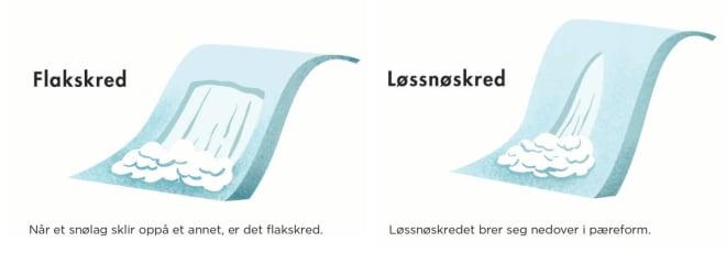 TO TYPER: De viktigste forskjellene på flak- og løssnøskred. Illustrasjon: Anne Vollaug