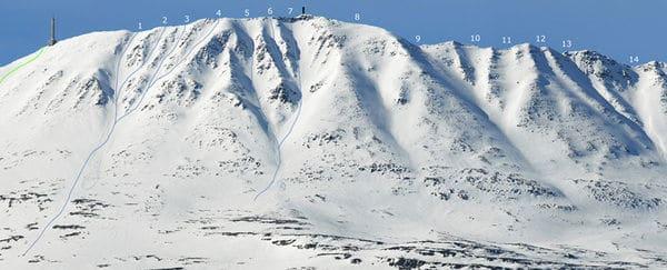 RENNENE: Dette oversiktsbildet over rennene fra Gaustatoppen er publisert på forumet til Fri Flyt.