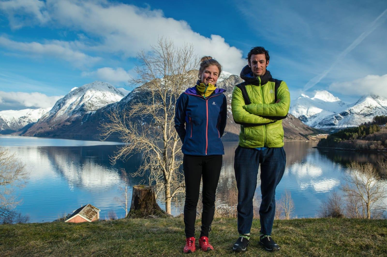 Kilian Jornet og Emelie Forsberg hjemme i Rauma. Foto: Matti Bernitz