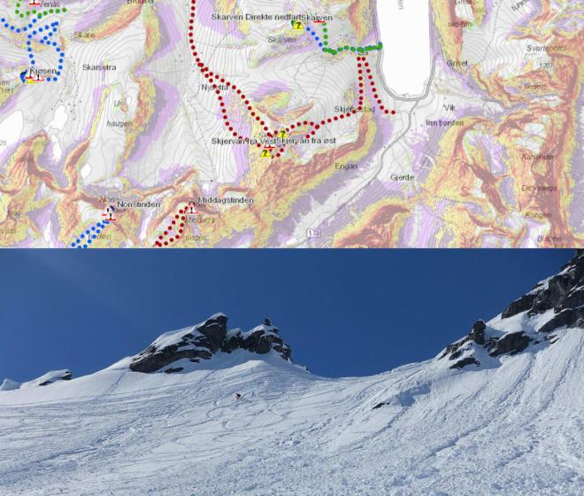 KART OVER OG PRAKSIS UNDER: Skjervan i Romsdalen er en av turene som er på plass i det oppdaterte kartet. Den røde turen på Skjervans østside er rød, som betyr KAST-klasse  tre; komplekst. Bildet under viser hvordan terrenget ser ut i virkeligheten. Foto: NVE/ Tore Meirik