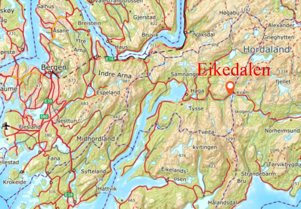 Eikedalen ligger øst for Bergen.