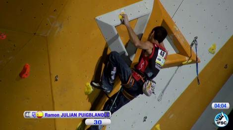 Spanske Ramón Julian Puigblanque havnet på andreplass. Foto: Skjermdump/ifsc-climbing.org