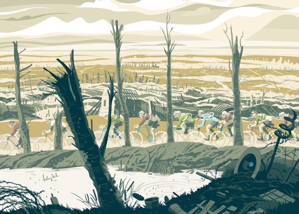 KRIGSRUINER: Europa var såvidt ferdig med sin verste krig noensinne, da Tour de France gjenoppstod i 1919. 1. verdenskrig er bakteppe for Geir Stian Ulsteins sykkelroman.  Illustrasjon: Simon Scarsbrook