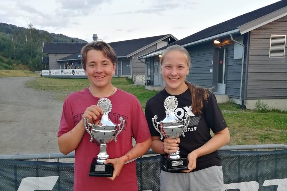 Tvillingene Emil og Kine Haugom ble King og Queen of the Mountain under Hafjell Bike Festival. Foto: Stine Haugom