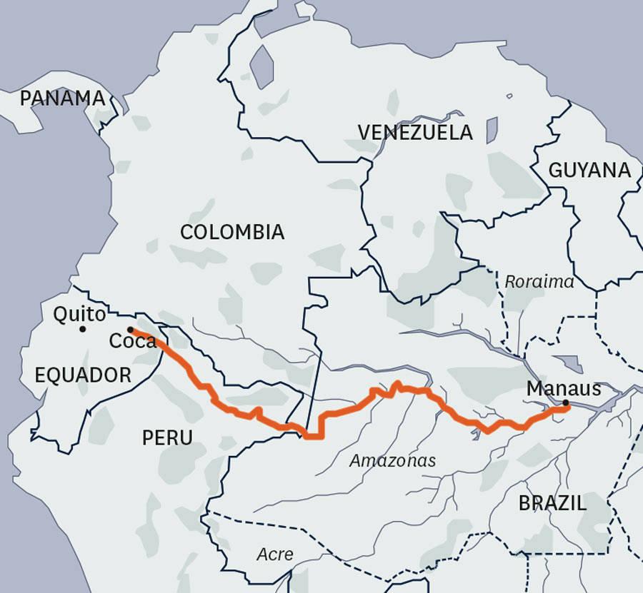 Amazonas-på-flåte-kart