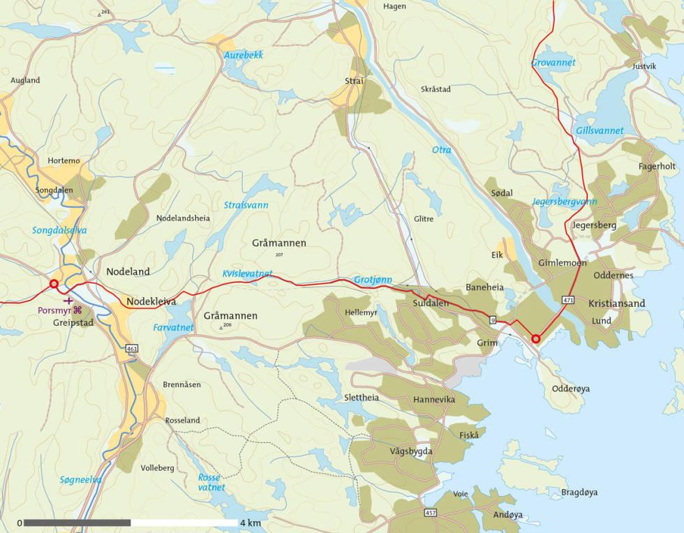 Barnevandrerstien-Nodeland-Kristiansand-Kart