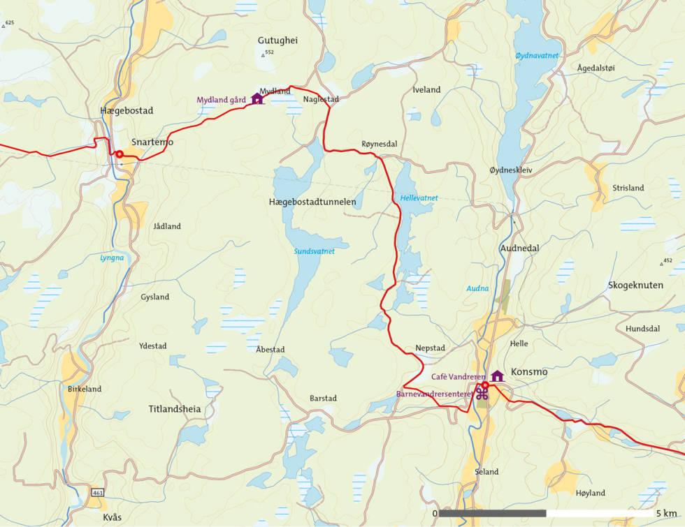 Barnevandrerstien-Snartemo-Konsmo-Kart