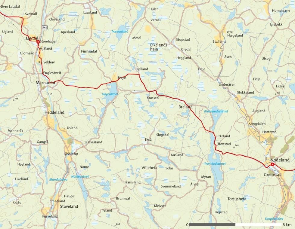 Barnevanrerstien-Laudal-Nodeland-Kart