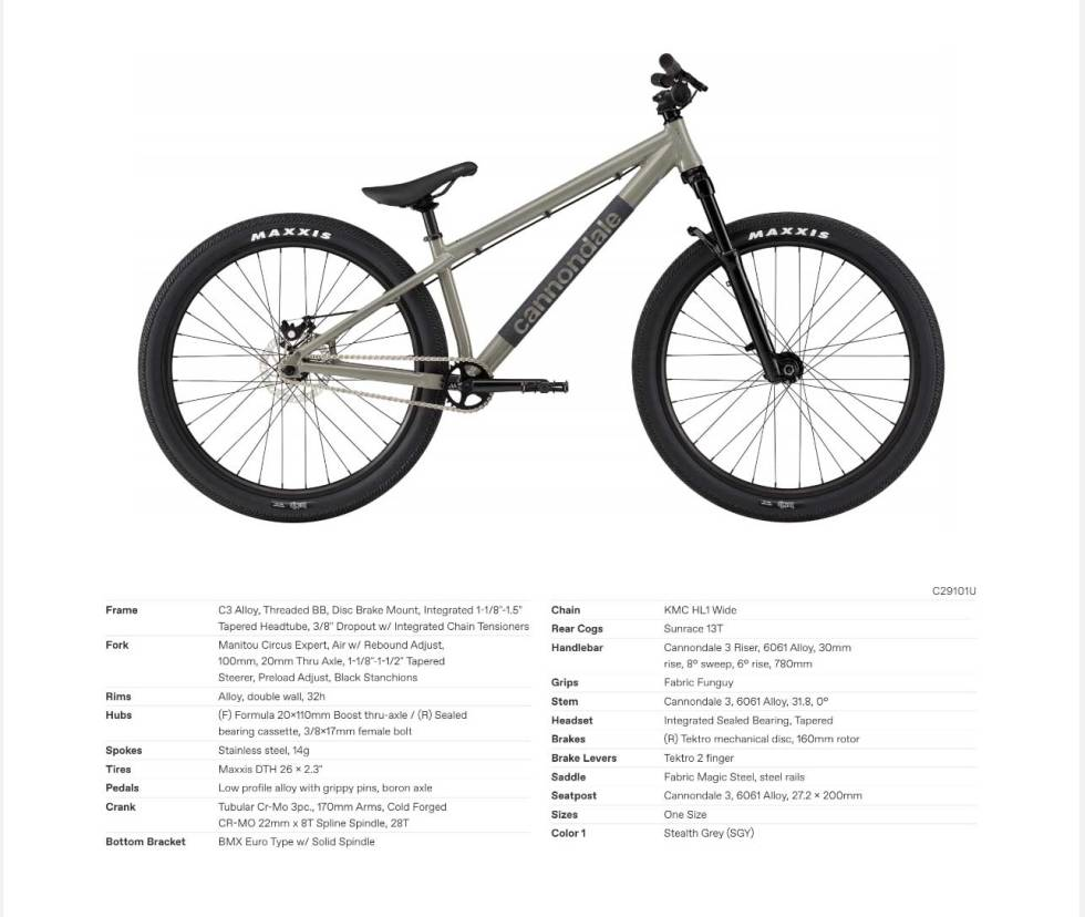 cannondale dave dirt sykkel