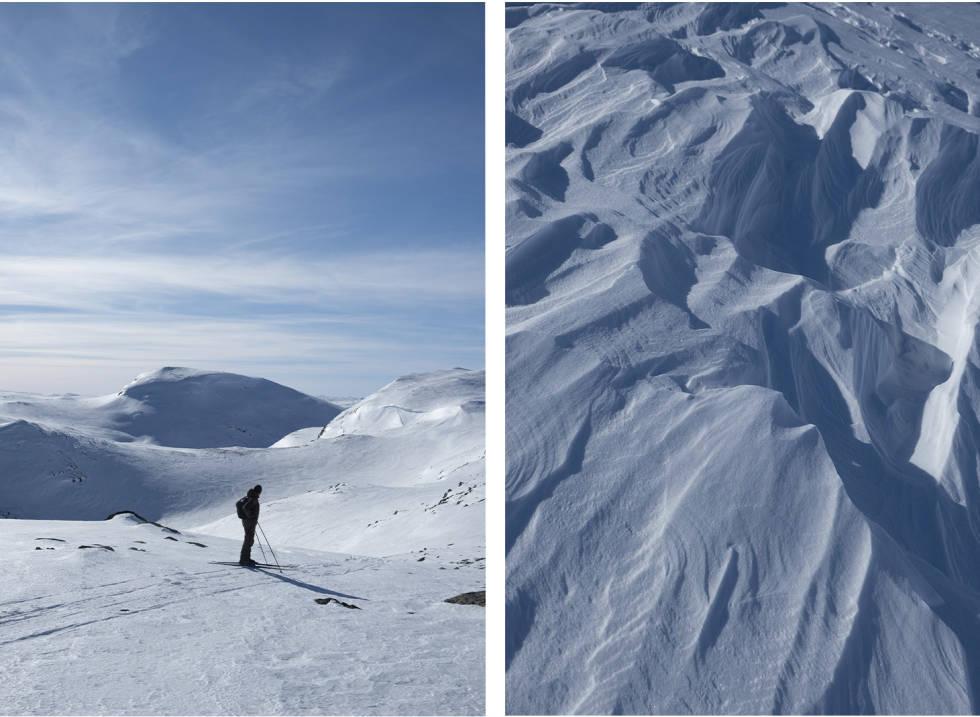 VÅRSKI: Det er framleis mykje snø i fjellet, går du ut i morgontimane ligg skaren klar til å bli mjuk i løpet av eit par timar. Foto: Signe Fuglesteg Luksengard