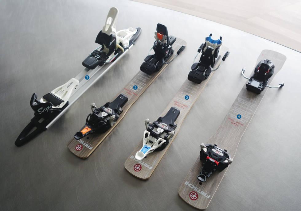 UTVALG: Rammebindingen Scout (t.v) er mest rettet mot nybegynnere. mens techbindingene Tecton 12, Vipec Evo 12 og Xenic 10  er flaggskipene.