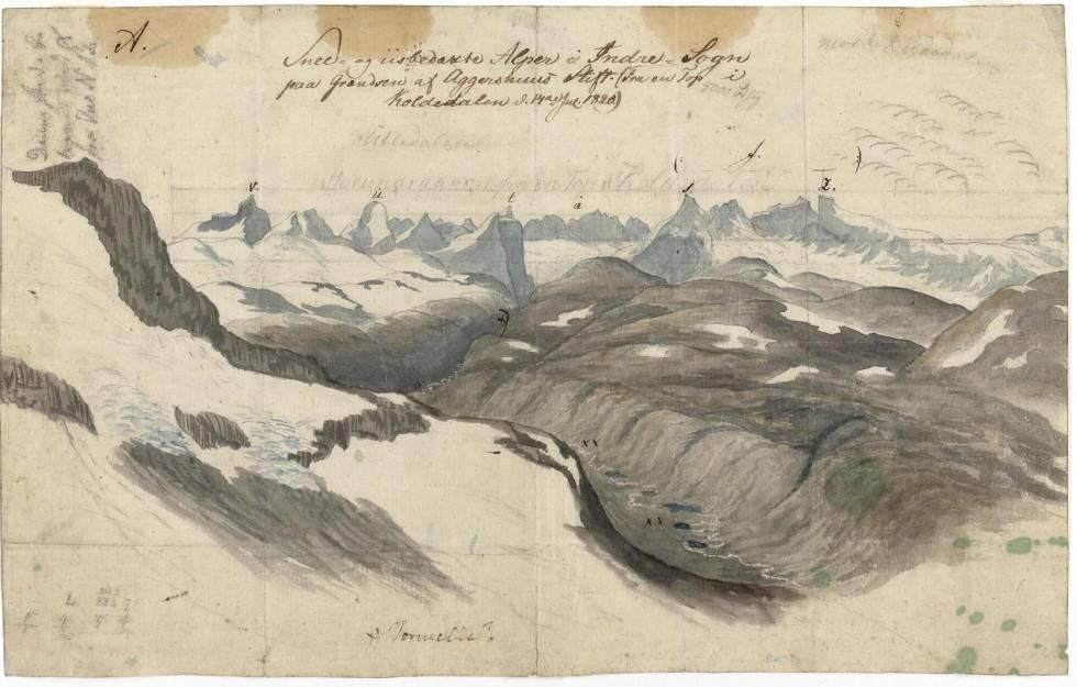 "Utsikten fra Snøggekknosi. Baltazar Mathias Keilhau: ""Erindring af Fjeldreisen i 1820. Tilegnet min Ven Boeck. Keilhau. Christiania 1821."""