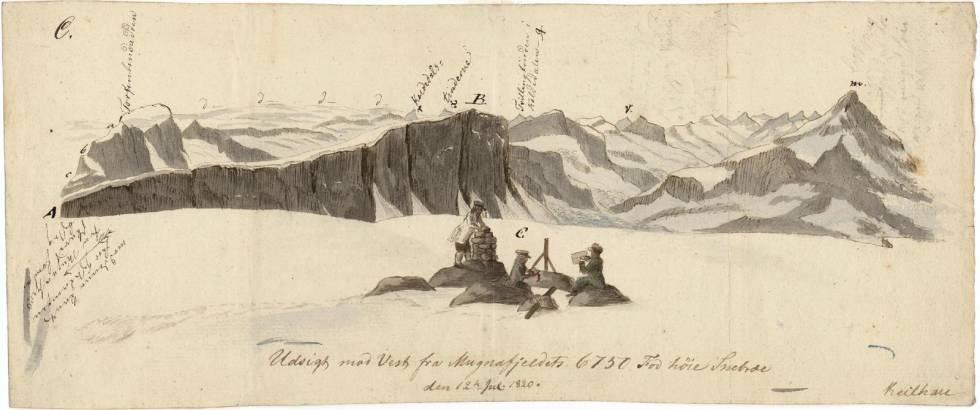 """Utsikte vestover fra Kalvehøgdi. Baltazar Mathias Keilhau: """"Erindring af Fjeldreisen i 1820. Tilegnet min Ven Boeck. Keilhau. Christiania 1821."""""""