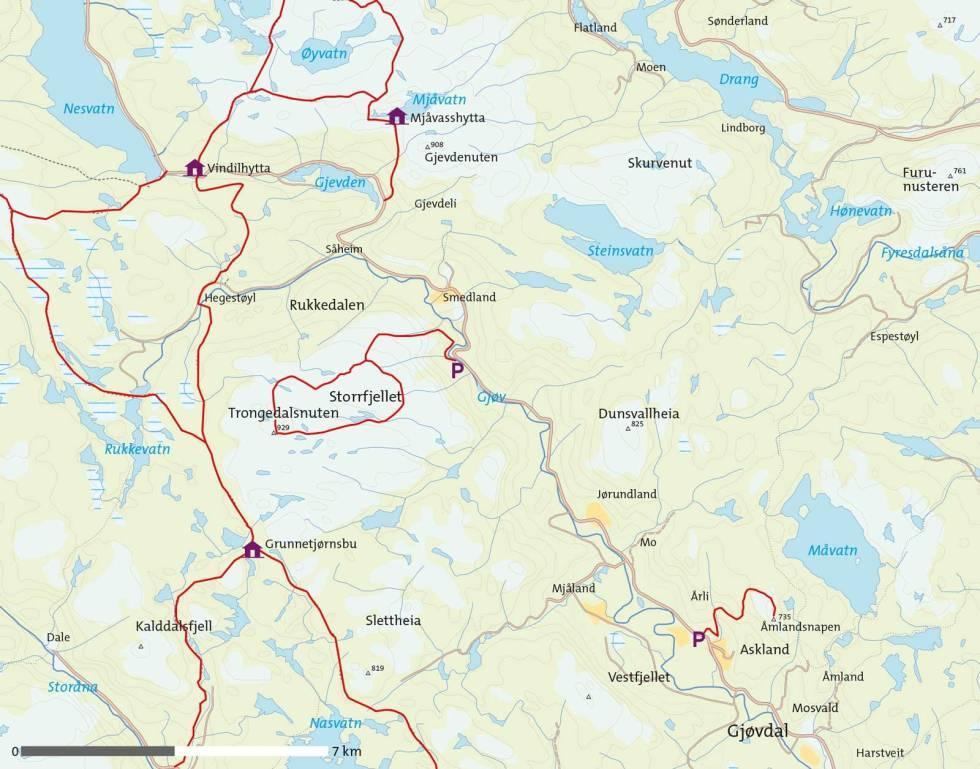 Gjøvdal-Kart