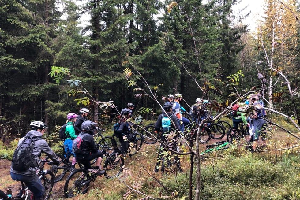 Søndagens GTG-tur i Oslo Enduro-etappene trakk rundt 20 deltakere. Foto: Frode Kaafjord