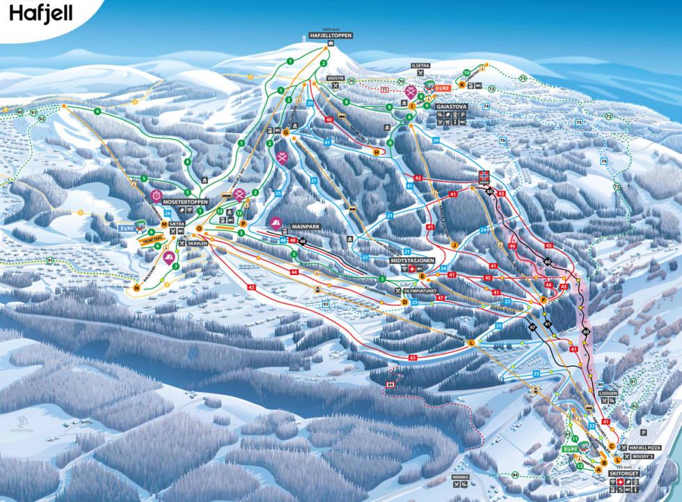 løypekart guide alpint ski hafjell alpinsenter hafjell bike park