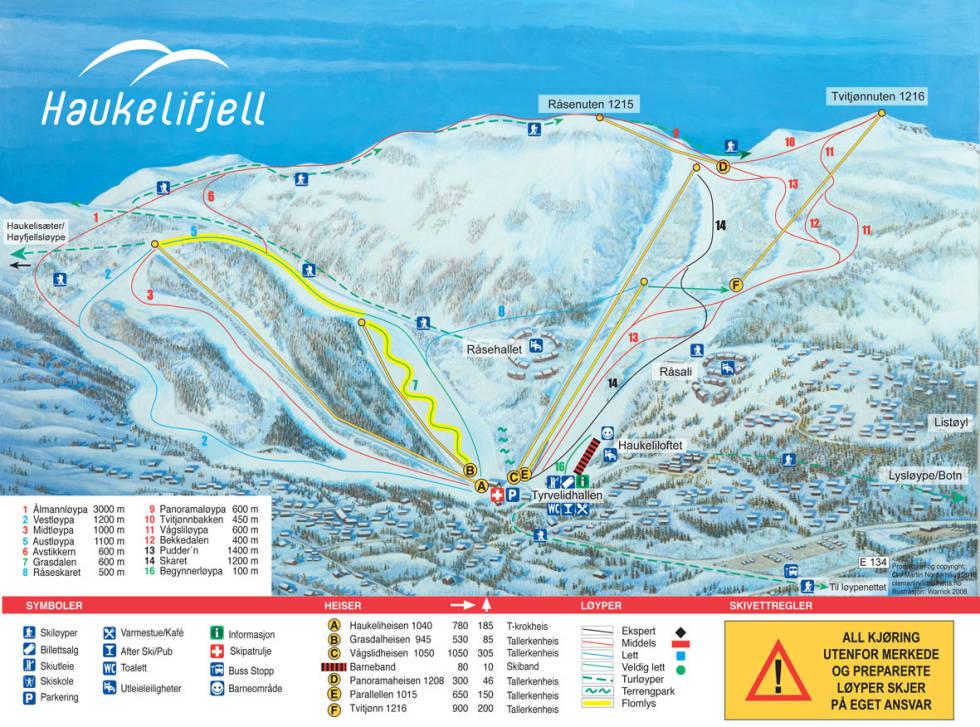 løypekart haukelifjell skisenter guide alpint ski twintip fri flyt