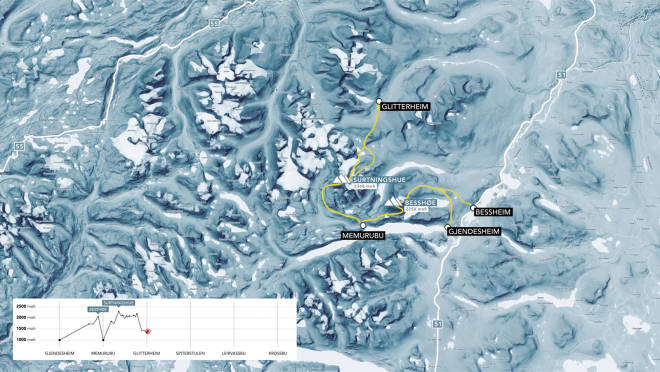 RUTA: Etappen mellom Memurubu og Glitterheim går vanligvis via Surtningssue (2386 moh)