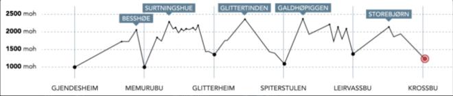 Høydekurve for Høgruta i Jotunheimen