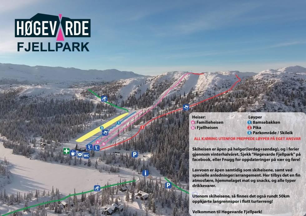Høgevarde løypekart ski alpin snowboard fri frlyt freeride