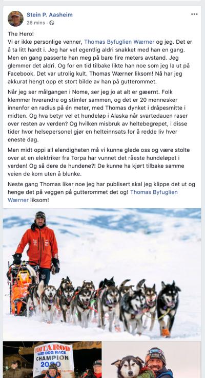 Stein P. Aasheim Facebook Iditarod