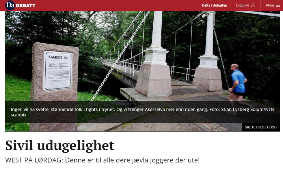 Kronikk joggere Dagsavisen Lars West