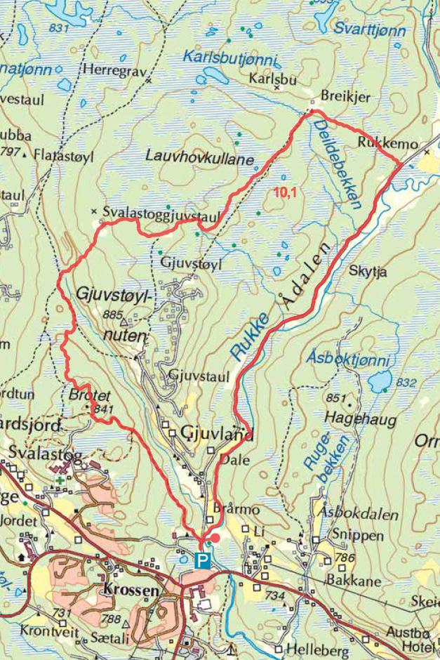 Raulandsfjell Breidkjer Kart turguide Telemark