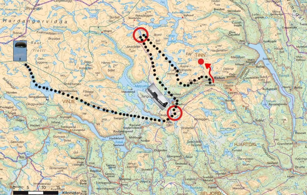 Tungvannsaksjonen Rauland Telemark Guide Kart