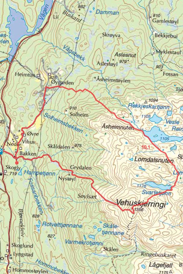Vehuskjerringi kart turguide Rauland Telemark