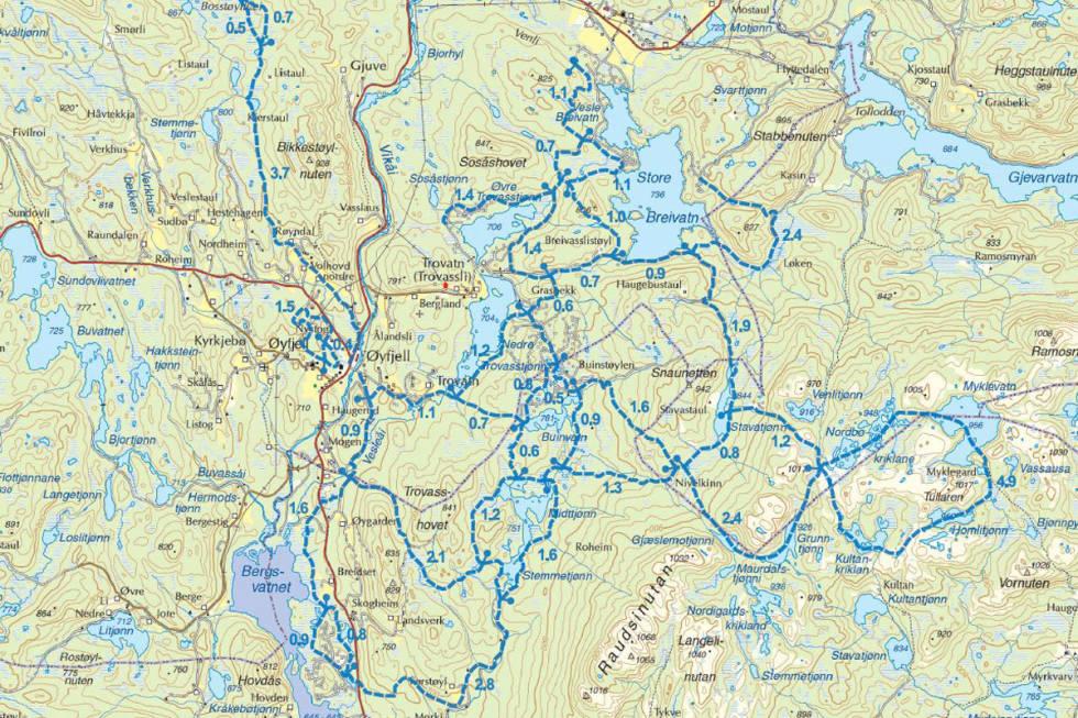 kart skiturer langrenn øyfjell telemark