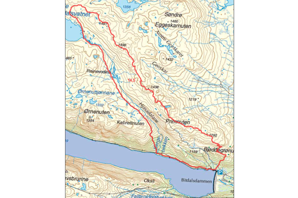 Kart primnuten telemark Bitdalsvatn tur norge guide