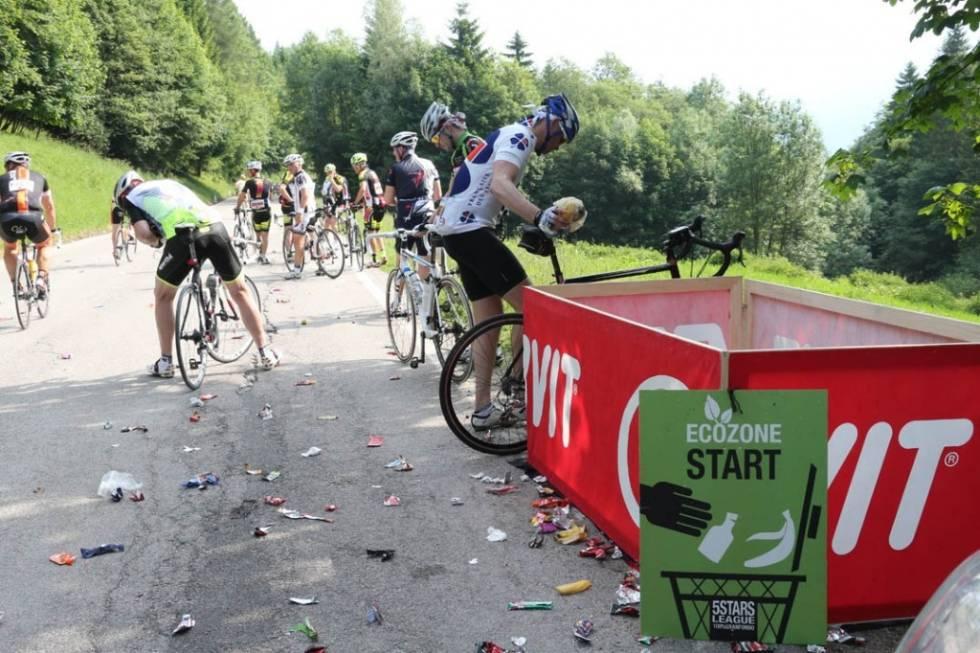 kastesone for avfall i sykkelritt
