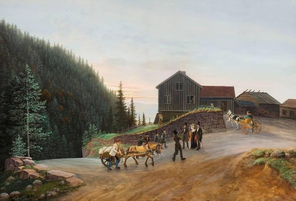 Solnedgang på Kleivstua fra 1834 er et hovedverk av Johannes Flintoe, malt i gouache.