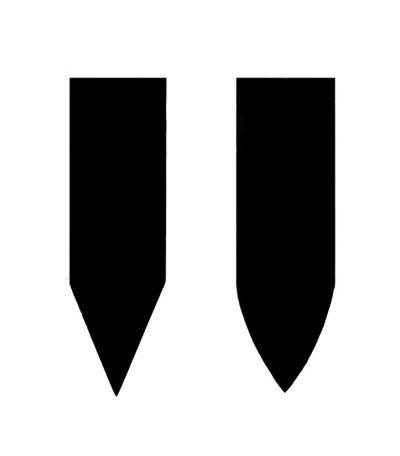 Illustrasjon av ulike bladformer: Til venstre en er det illustert en v-egg, også kalt Scandinavian grind, mens illustrasjonen til høyre viser en konveks egg.