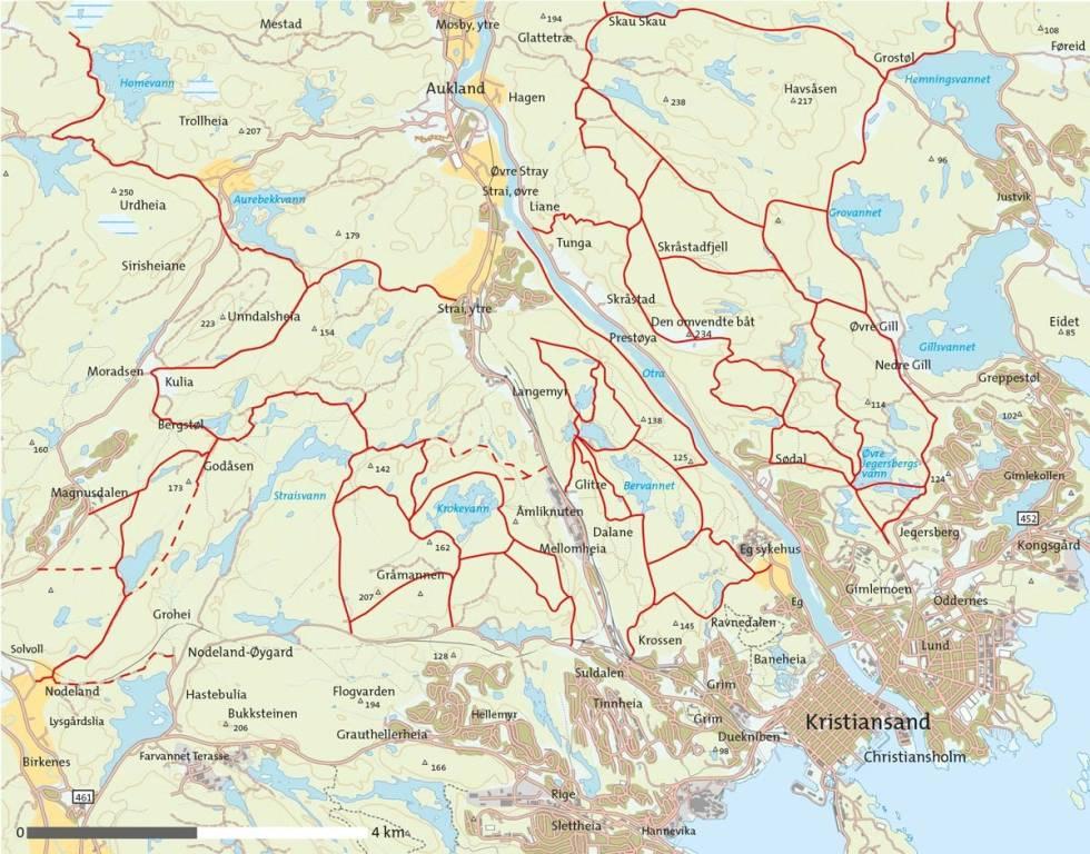 Kristiansands-turområder-Kart